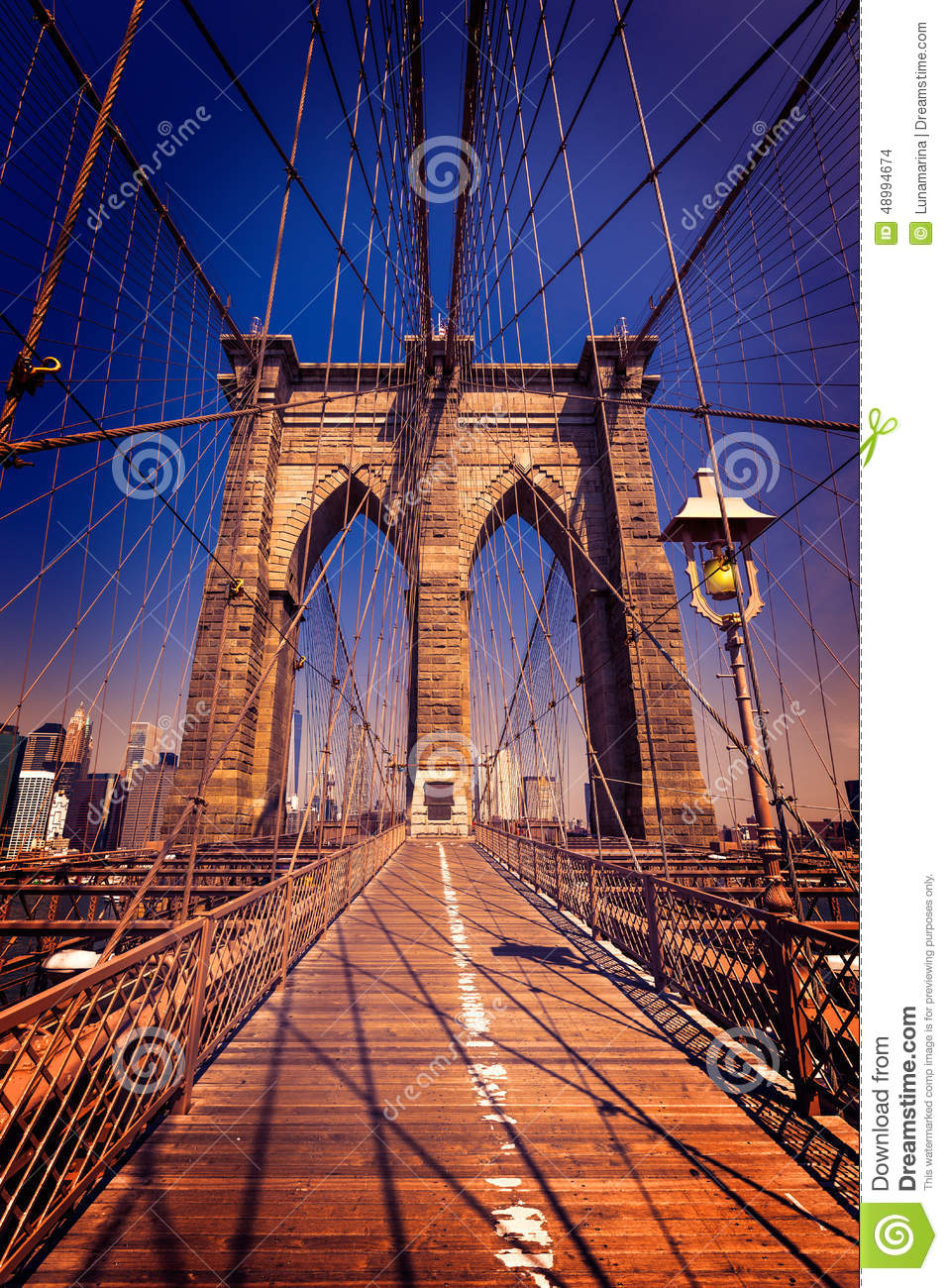 Brooklyn Bridge And Manhattan New York City US Stock Photo