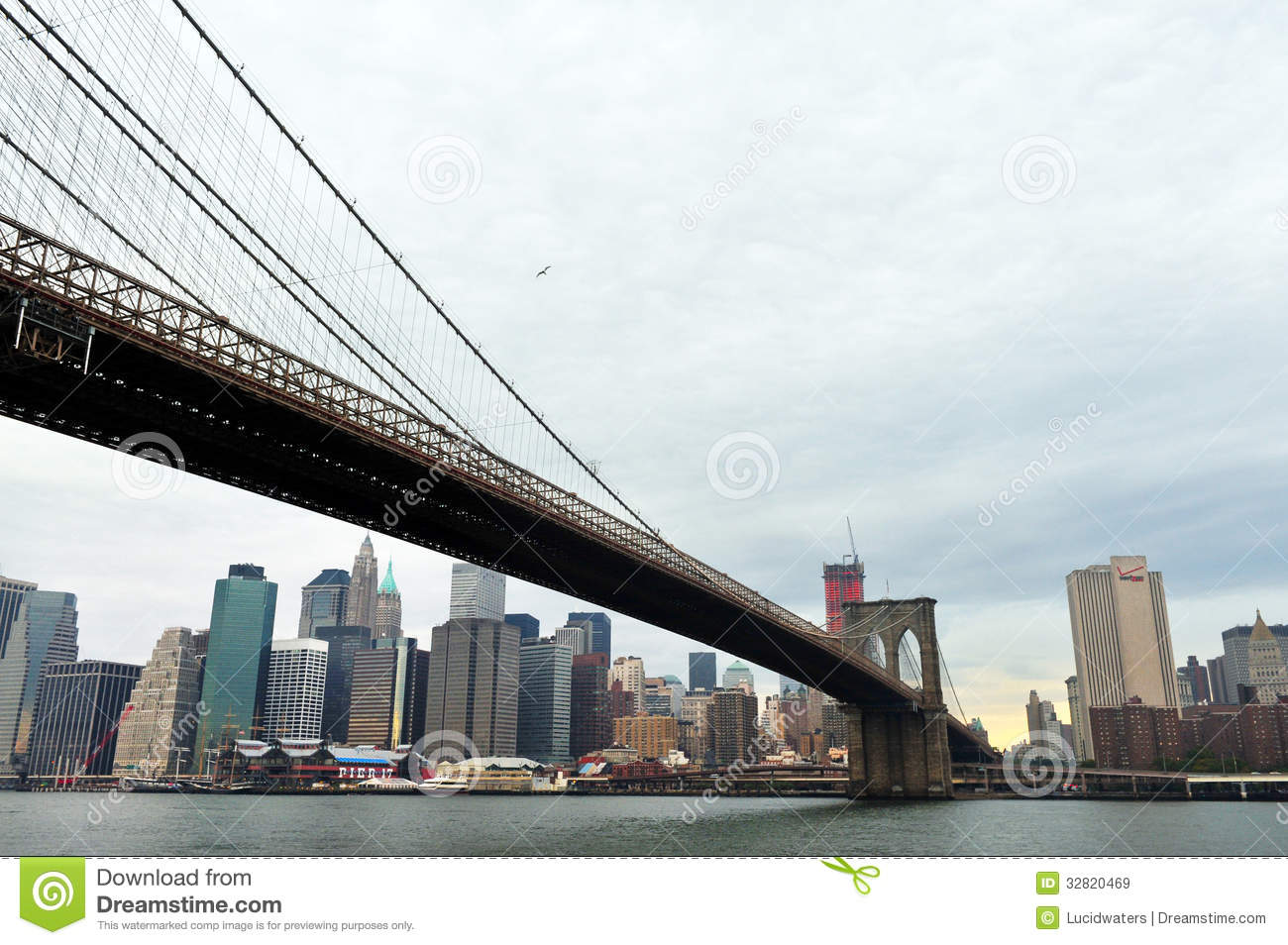 brooklyn bridge in manhattan new york editorial stock image image of landscape seaport 32820469. Black Bedroom Furniture Sets. Home Design Ideas