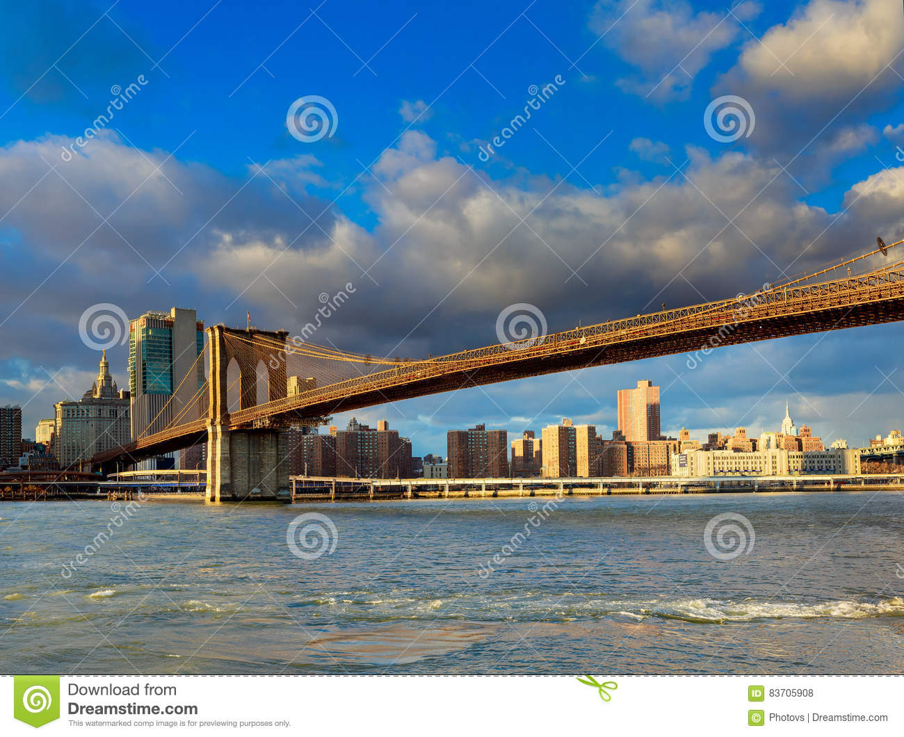 The Brooklyn Bridge And Manhattan Skyline From , New York. Stock Photo