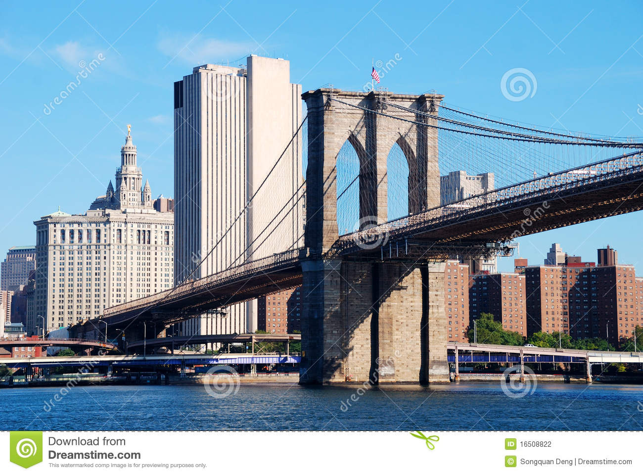 brooklyn bridge new york city stock photo image of office suspension 16508822. Black Bedroom Furniture Sets. Home Design Ideas