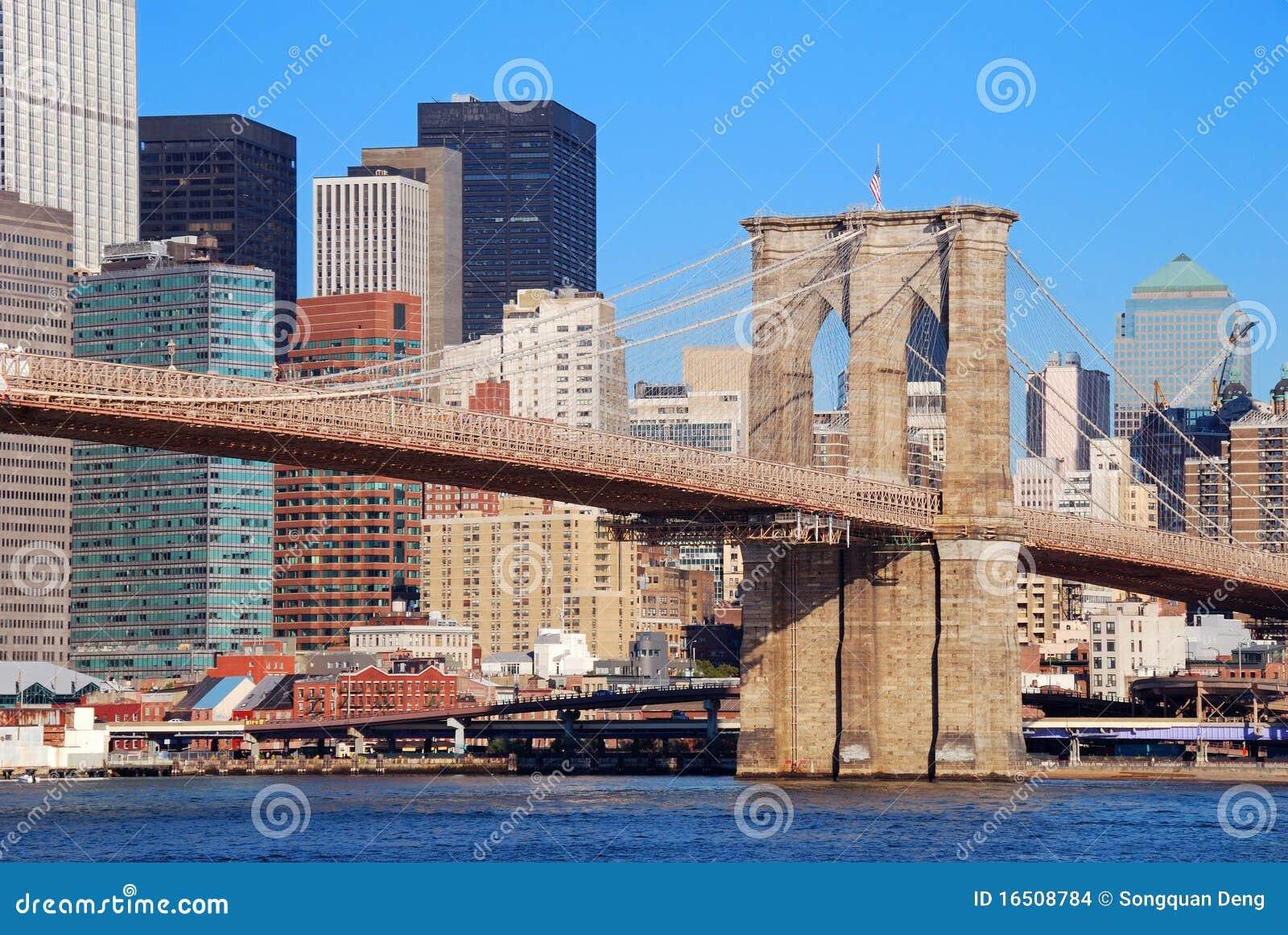 New york city manhattan skyline with brooklyn bridge and skyscrapers