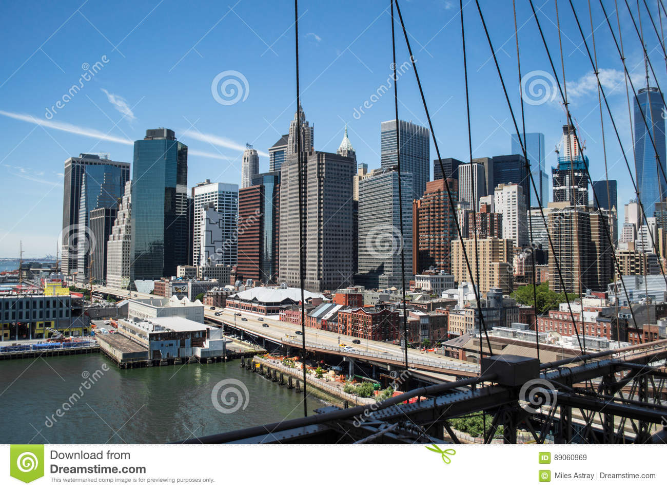 Brooklyn Bridge, One World Trade Center and Financial District: Summer in Manhattan