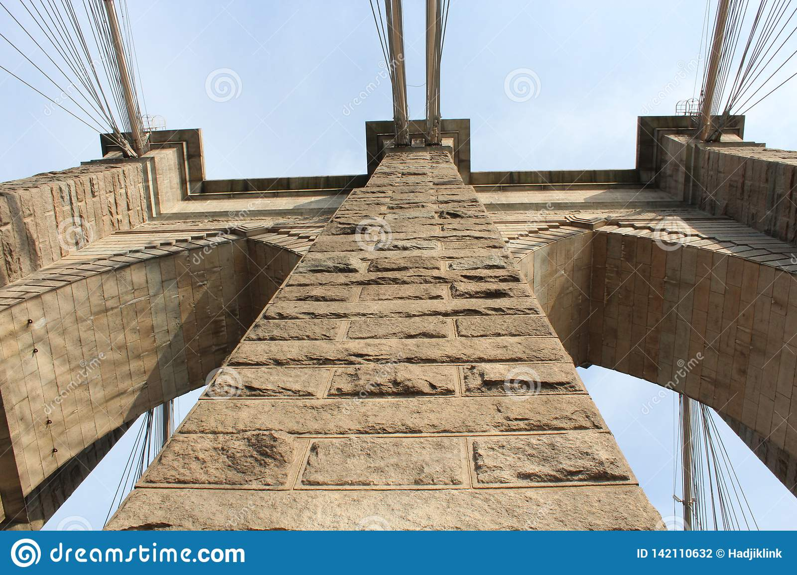 Brooklyn bridge. View from the bottom up.