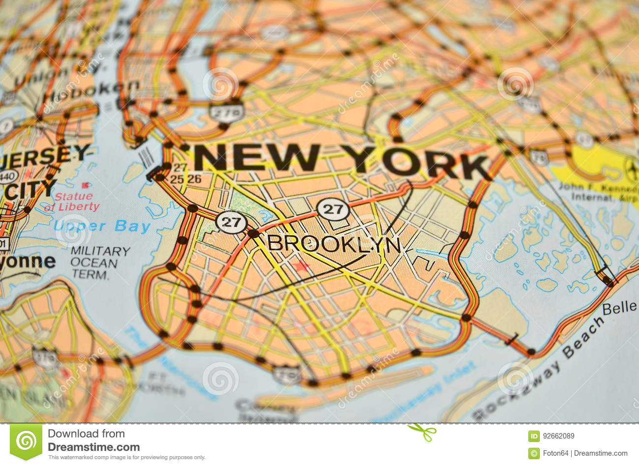 New York Brooklyn Map Stock Image Image Of Focus America 92662089