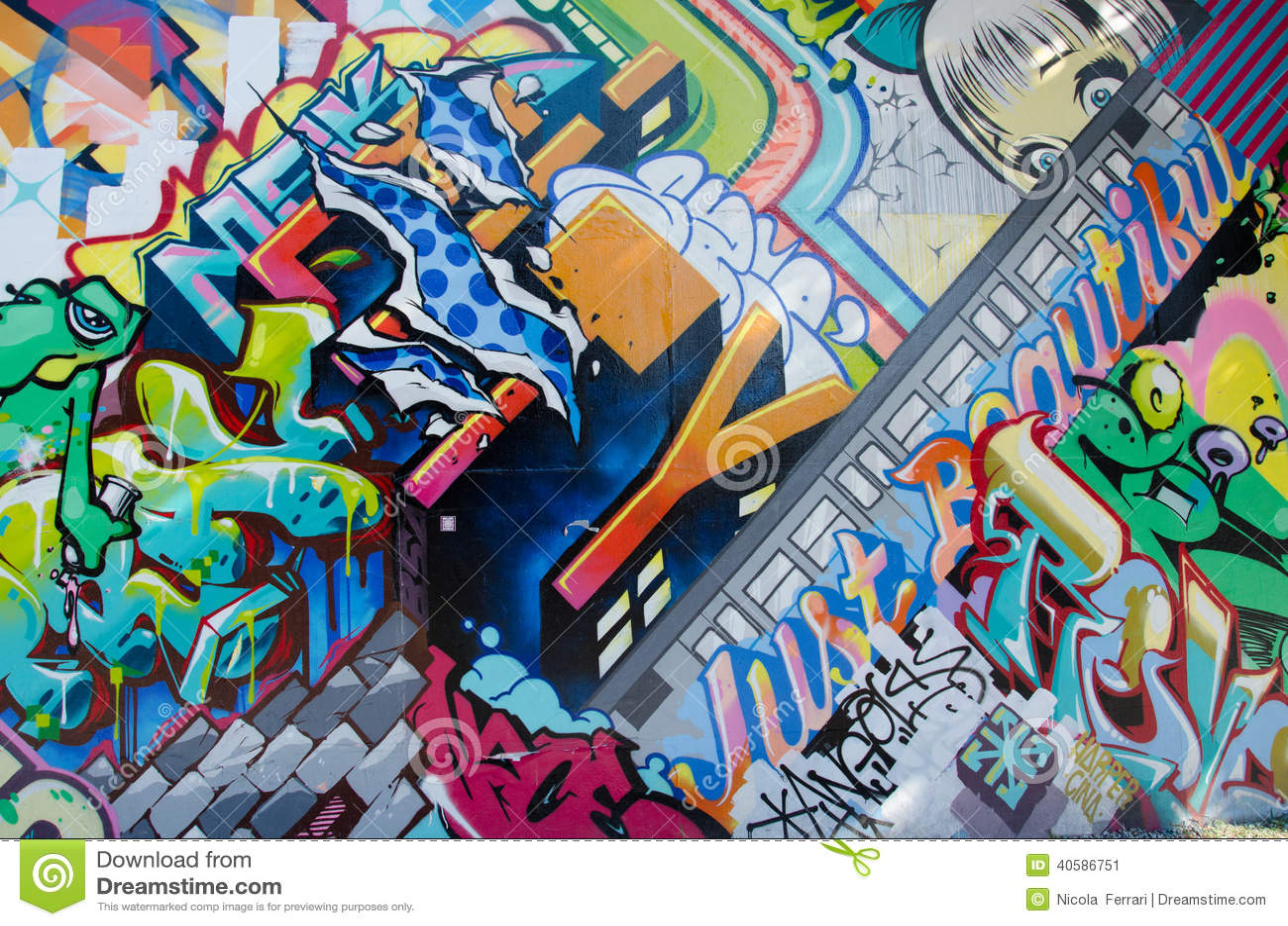 BROOKLYN, NYC, US, October 1 2013: Street art in Brooklyn. Wall