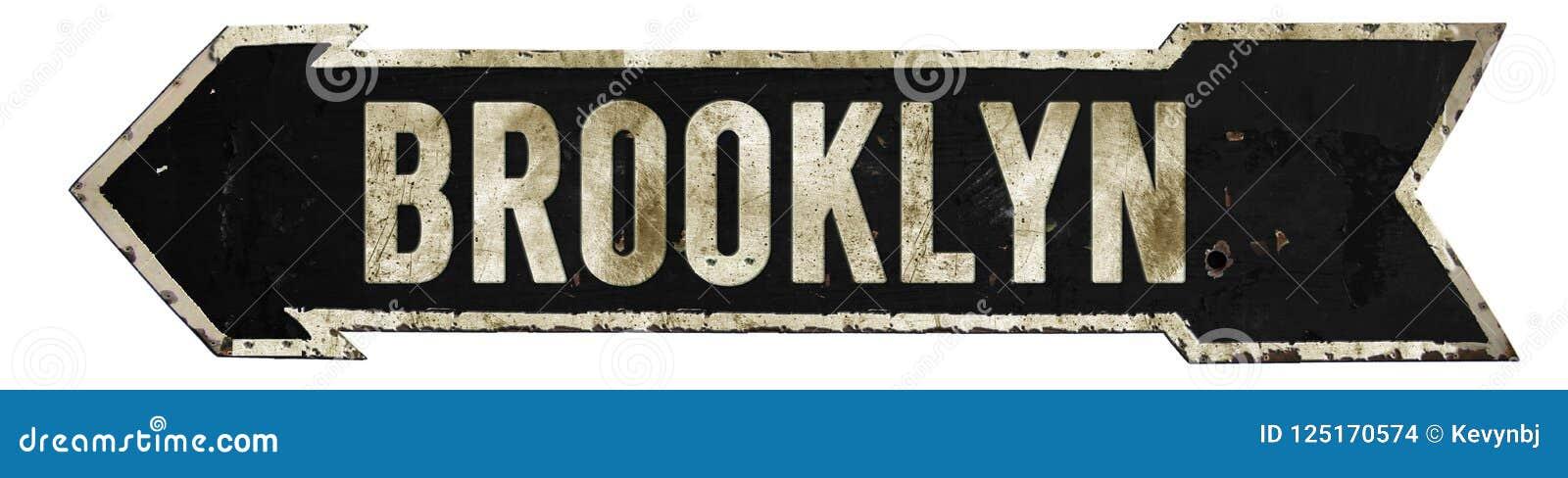 Brooklyn Street Sign Grunge Arrow