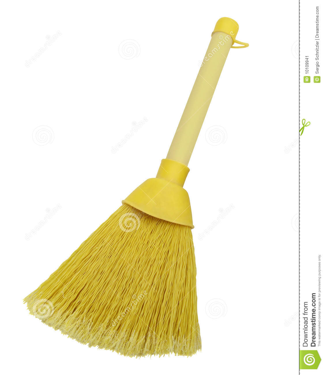Yellow plastic broom isolated on white background.