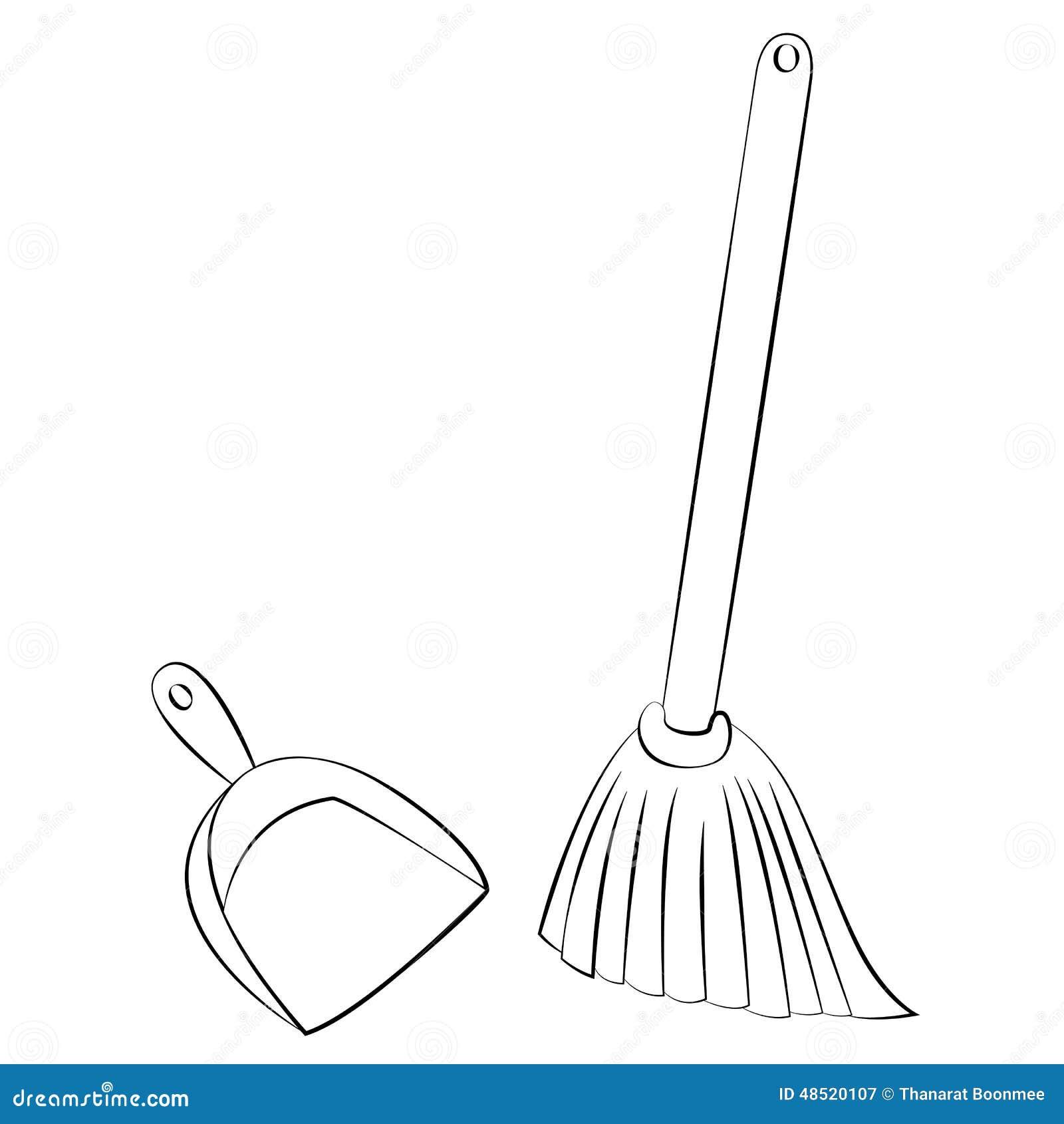 Broom Amp Dustpan Stock Vector Illustration Of Ground