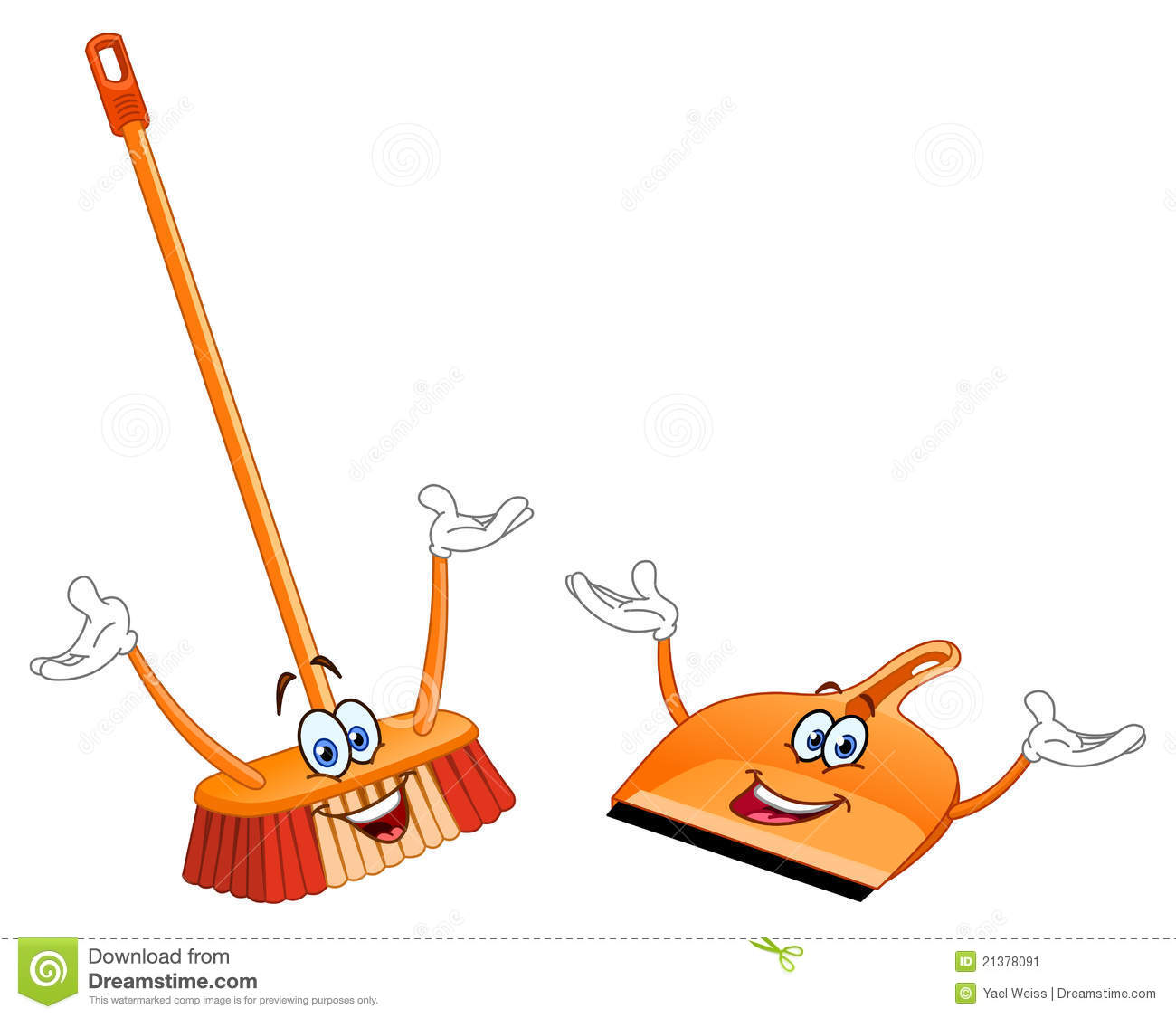 Broom And Dustpan Cartoon Stock Image - Image: 21378091