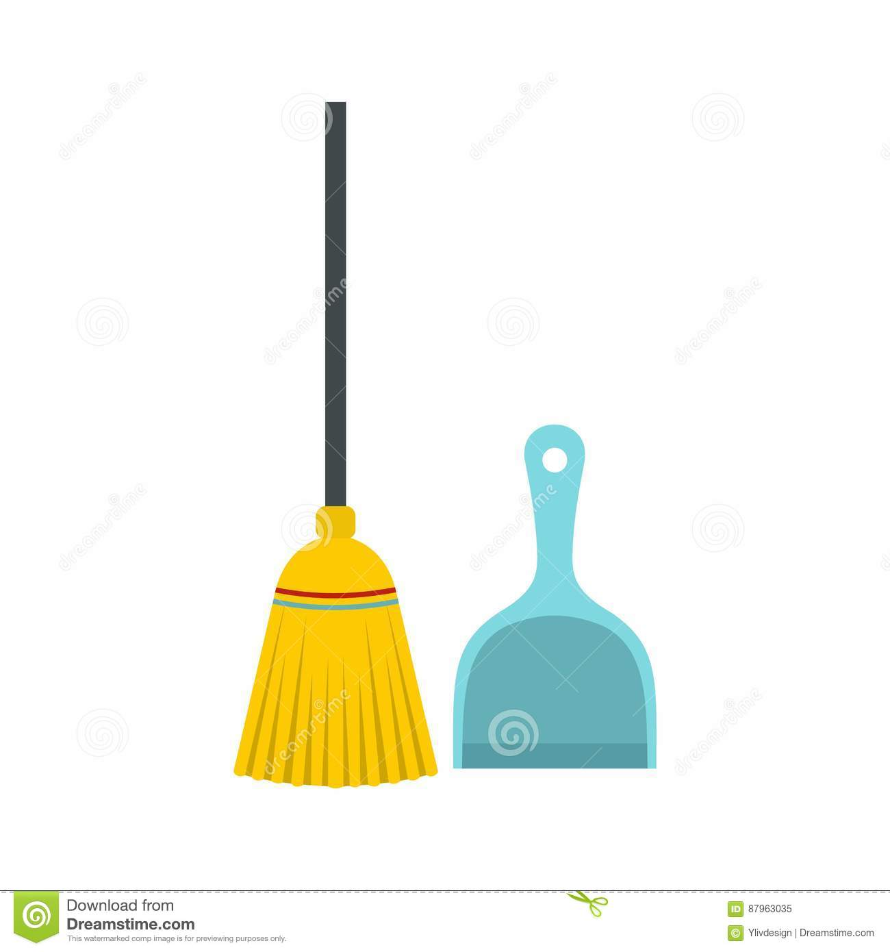 Broom And Dustpan Icon, Flat Style Stock Vector