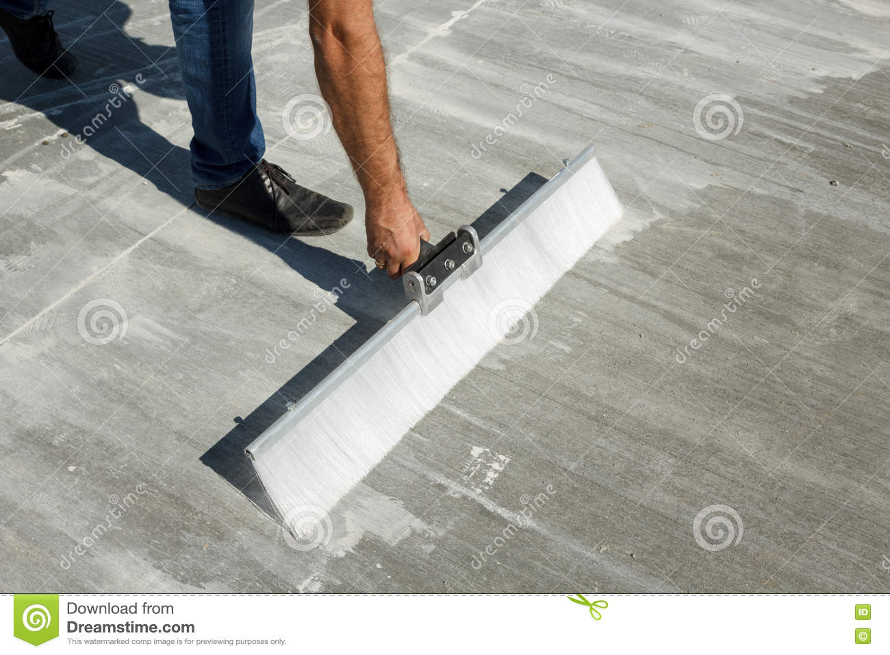 Broom Finishing Of A Concrete Slab Stock Image Image