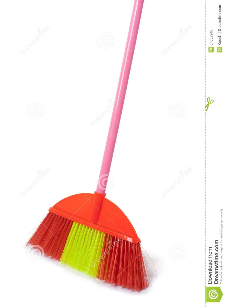 Red plastic broom isolated on white.