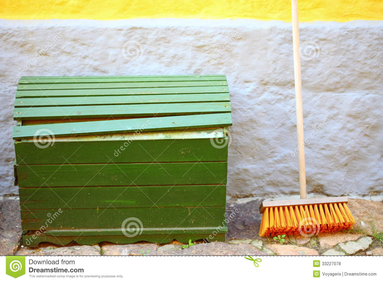 Broom On Wall And Wooden Box Outdoor Housework Stock Photo Image