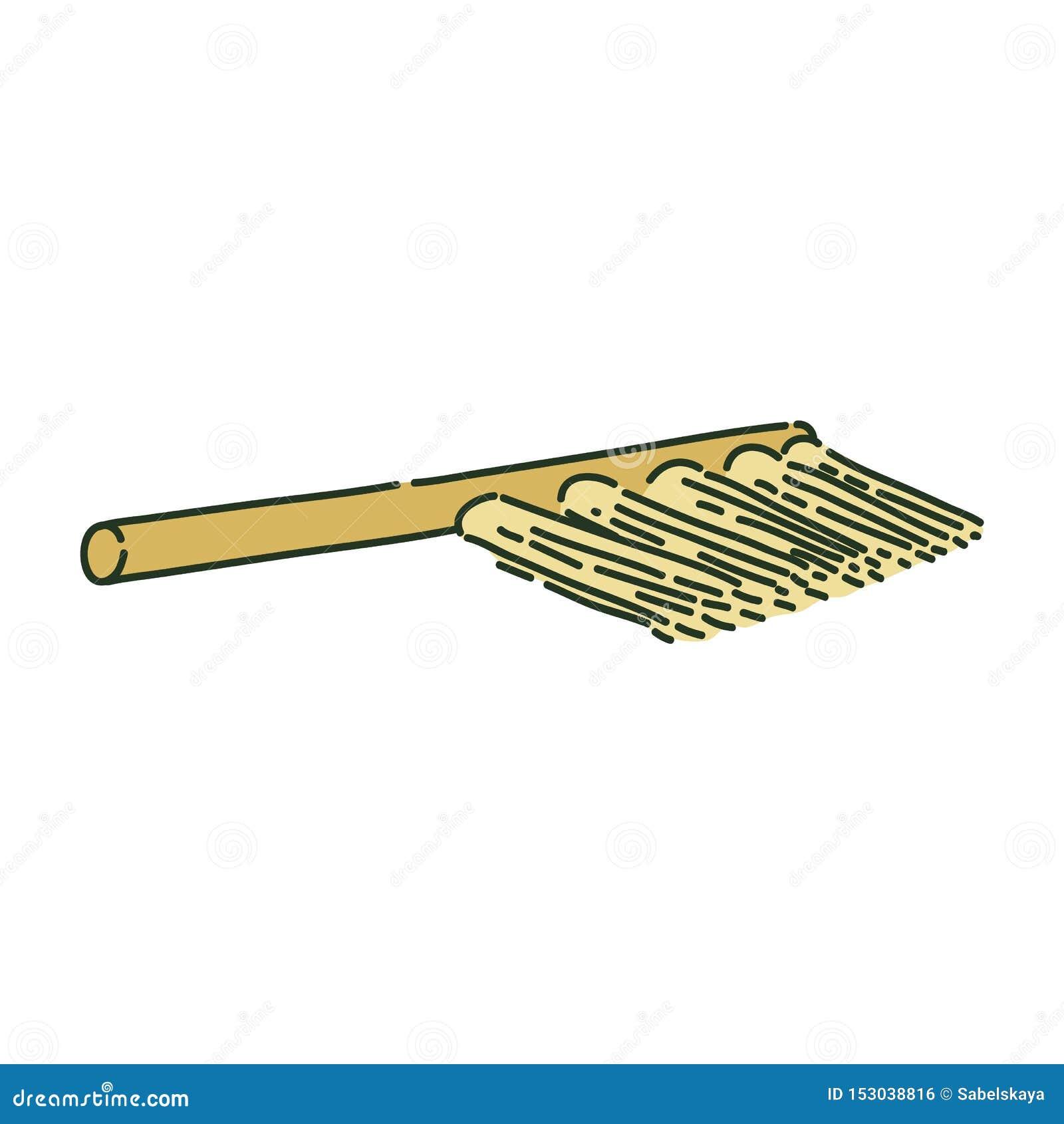 Brosse de nettoyage ou style archéologique de croquis de balai