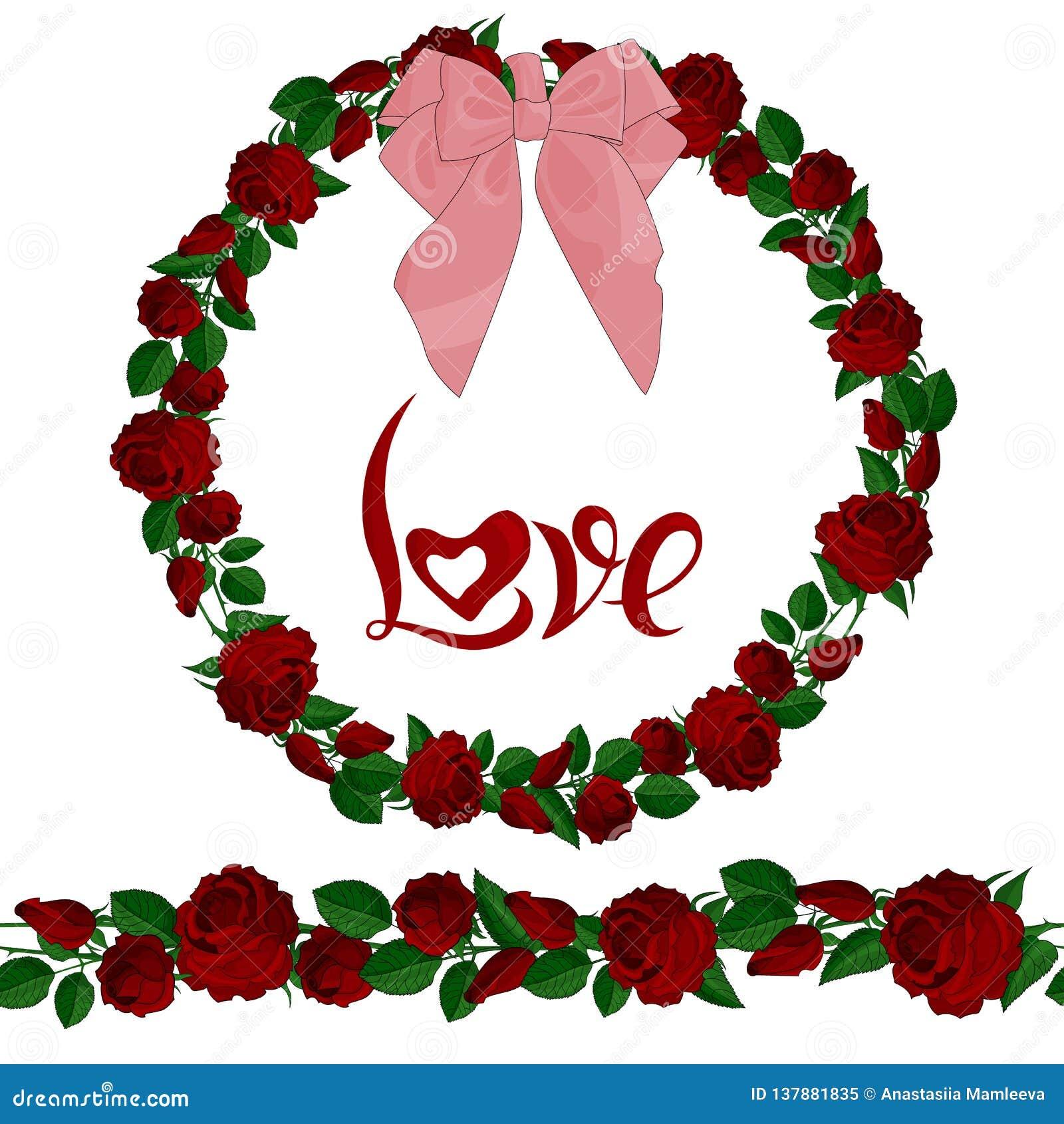Brosse et guirlande sans couture des roses rouges avec le lettrage