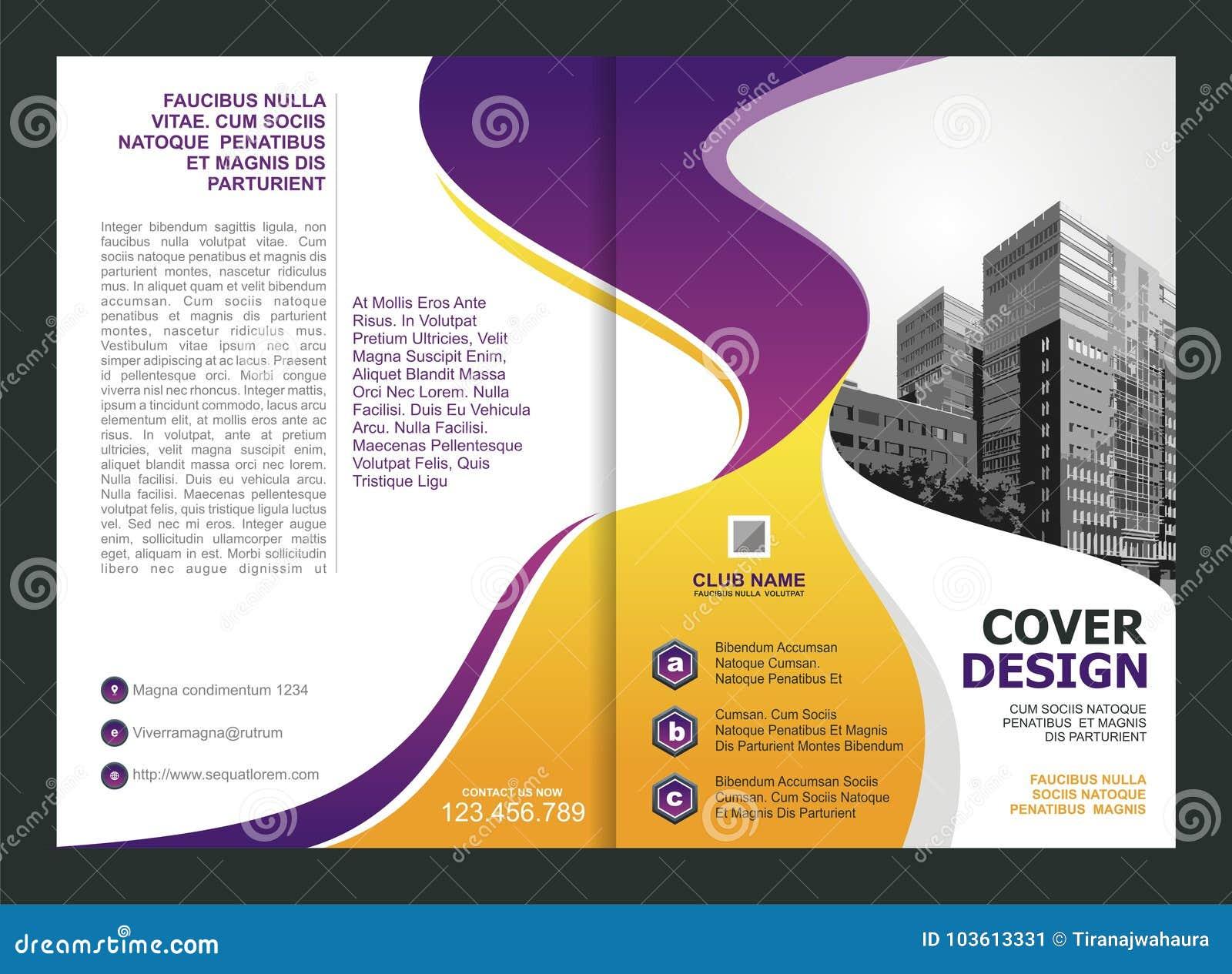 Broszurka, ulotka, szablonu projekt z purpurami i Żółty kolor,