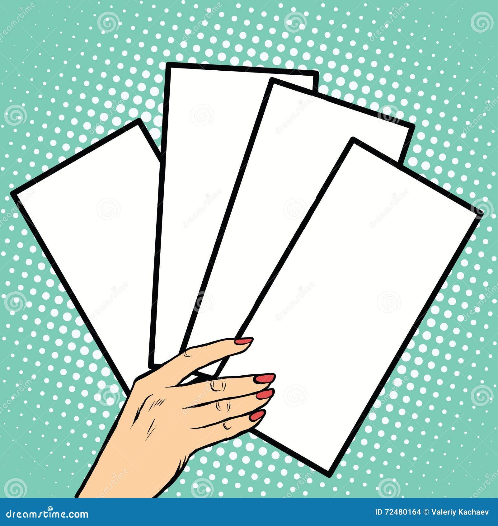 Broszury lub bilety w ręce
