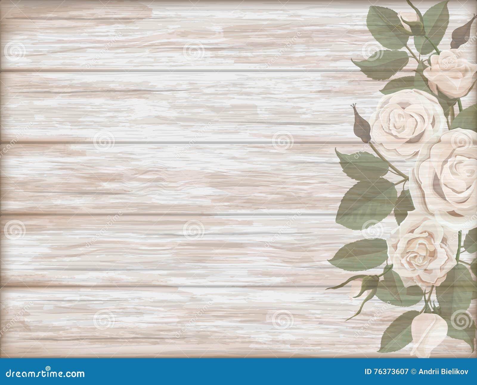 Fondo De Madera Vintage Con Flores Blancas Manzana Y: Brote De Madera De La Rosa Del Blanco Del Fondo Del