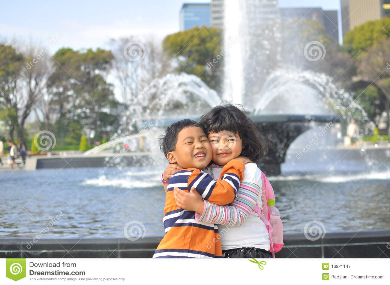 Sister And Brother Hugging Each Other Royalty Free Stock