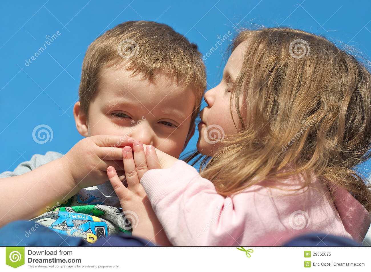Brother Hugging His Sister Good Night Stock Photo - Image