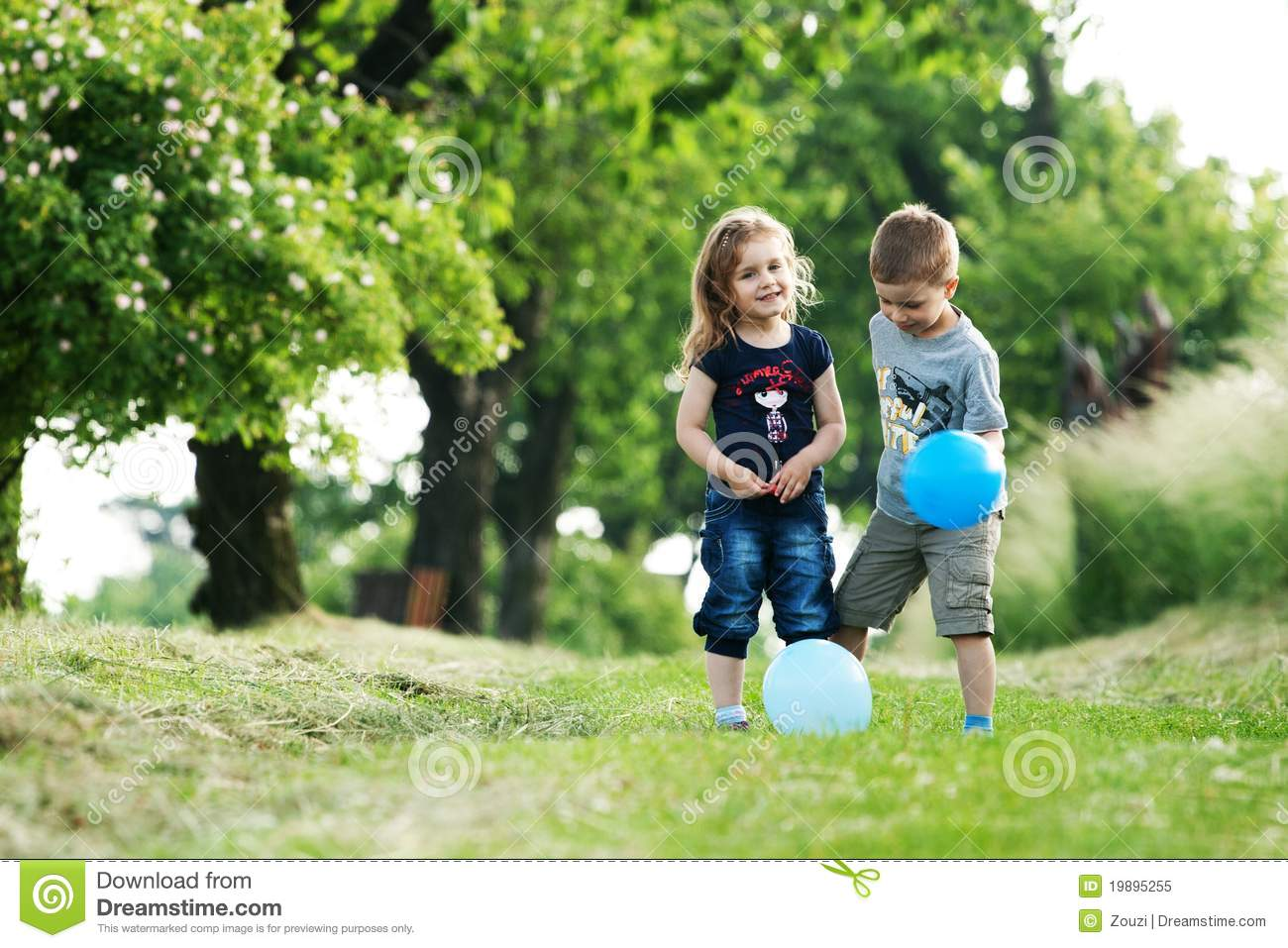 brother and sister outdoor portrait with balloons royalty free stock photo image 19895255. Black Bedroom Furniture Sets. Home Design Ideas