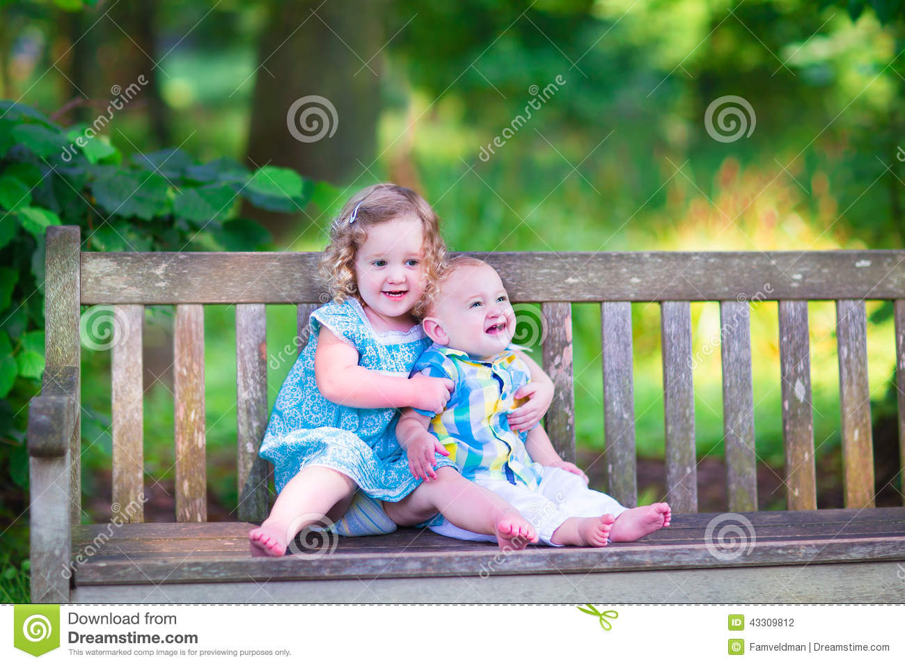 Brother And Sister In A Park Stock Photo Image Of Autumn Care