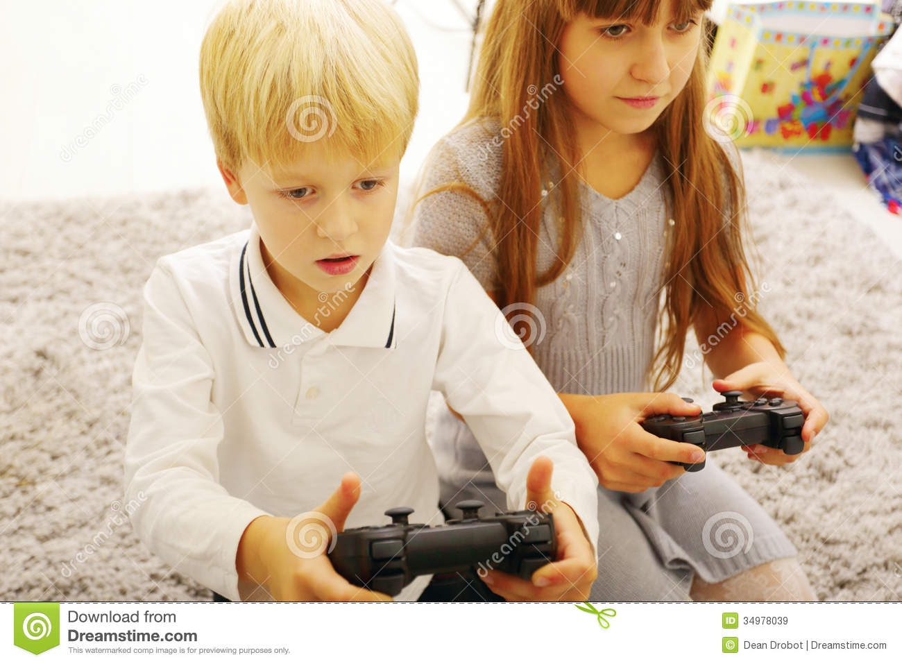Brother Plays Game Sister