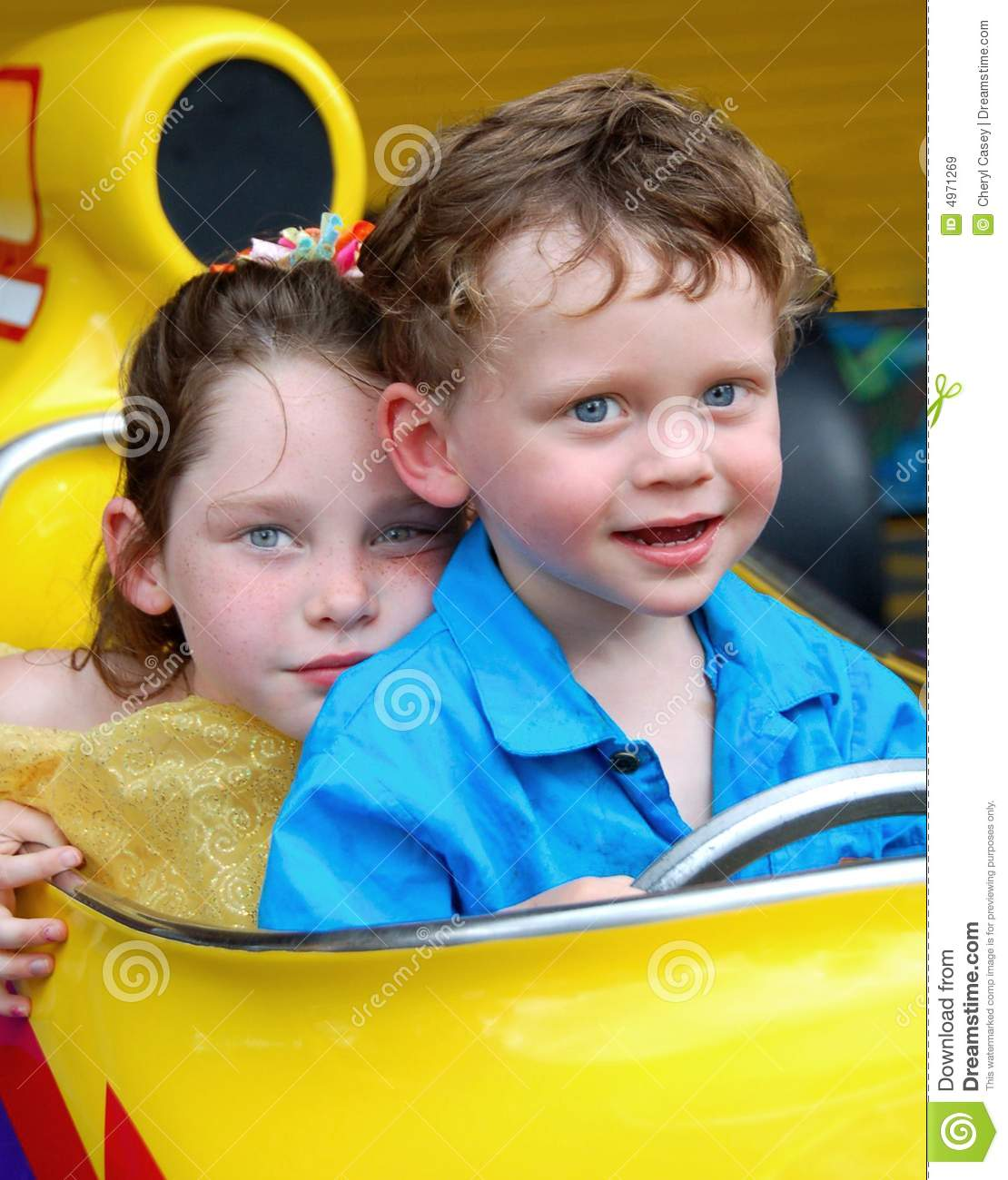 Brother And Sister In Race Car Royalty Free Stock Images Image 4971269
