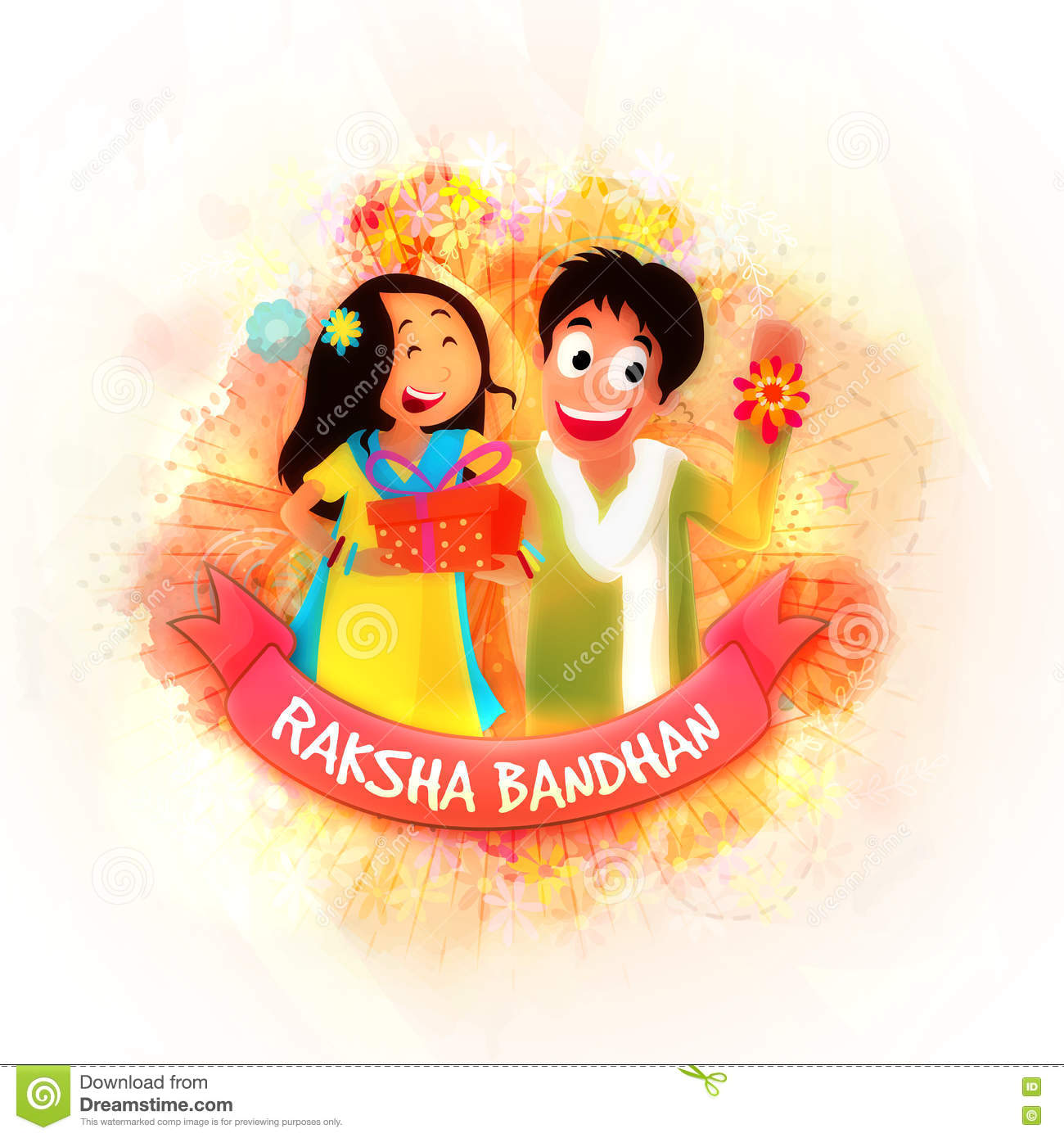 Brother and sister for raksha bandhan stock illustration brother and sister for raksha bandhan kristyandbryce Image collections