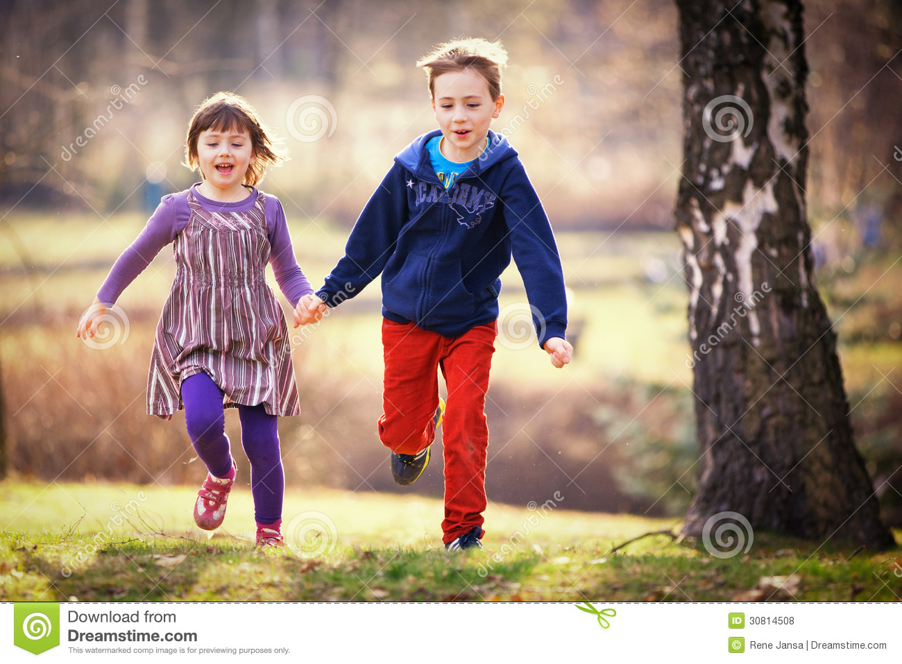Brother And Sister Running Stock Photo Image Of Sibling - 30814508-5467