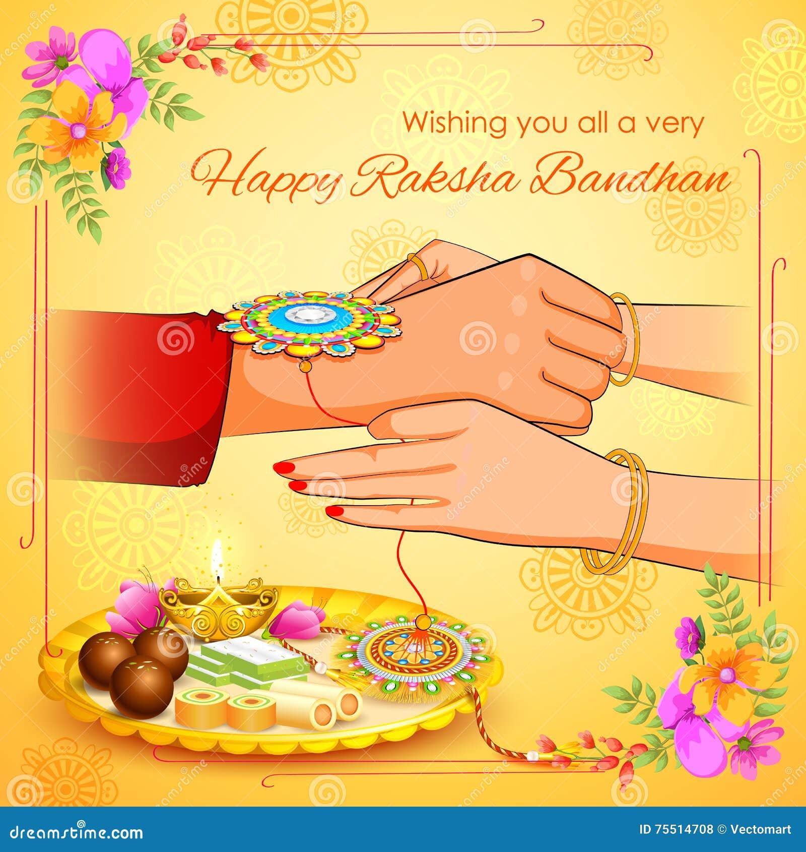 Brother And Sister Tying Rakhi On Raksha Bandhan Stock Vector