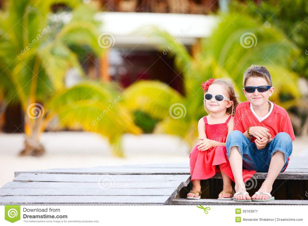 Brother And Sister On Vacation Stock Image