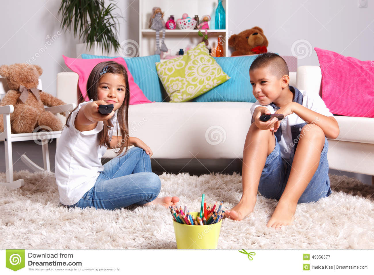 Brother And Sister Watching Tv Stock Image Image 43858677