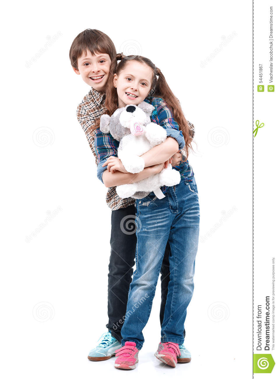Toys For Siblings : Brother and sister wit big toys stock photo image