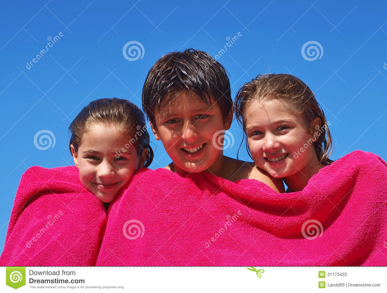 Adorable Little Girls Wrapped In Towel At Tropical Beach ...