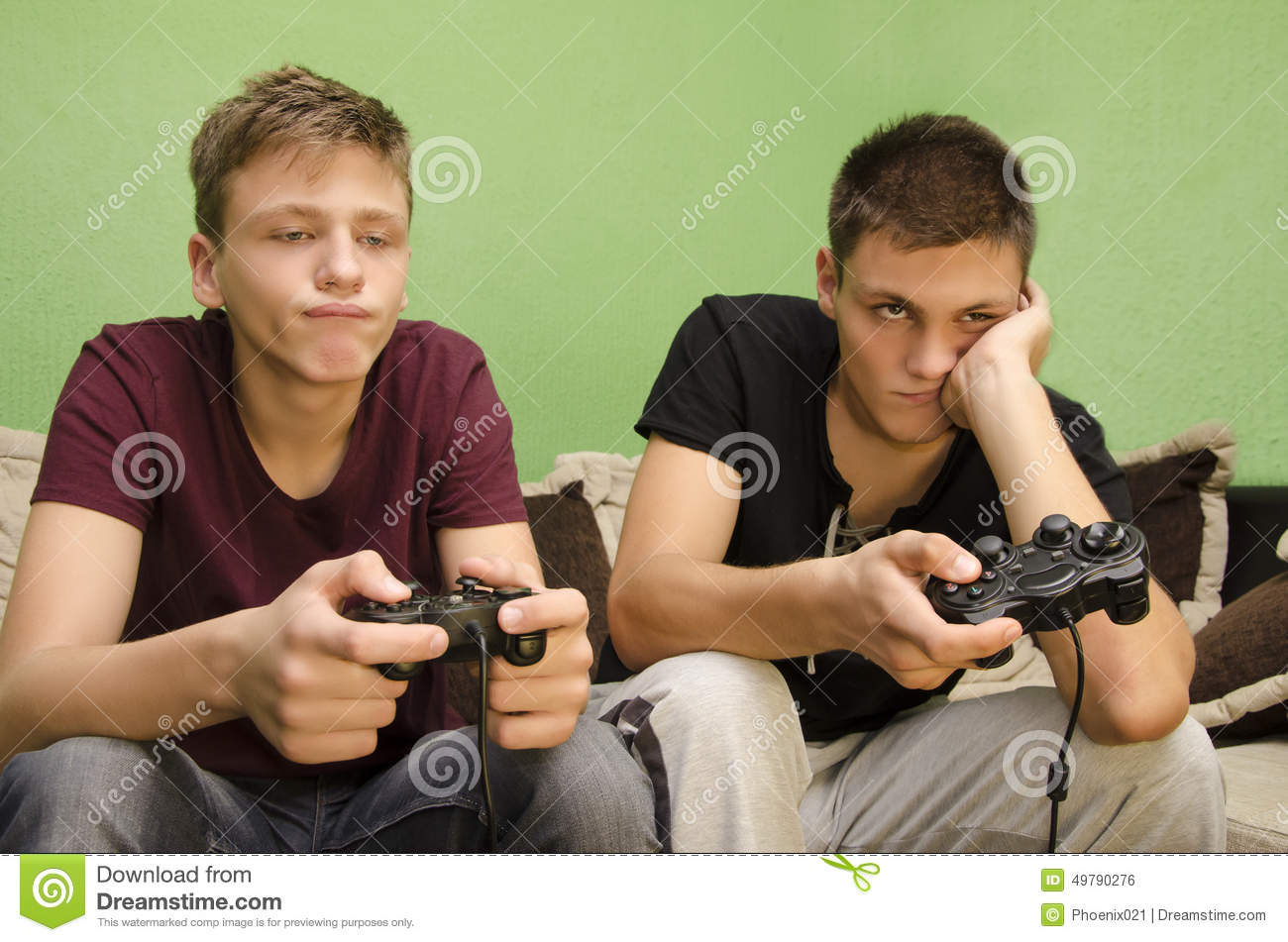 Brothers playing video games boredom