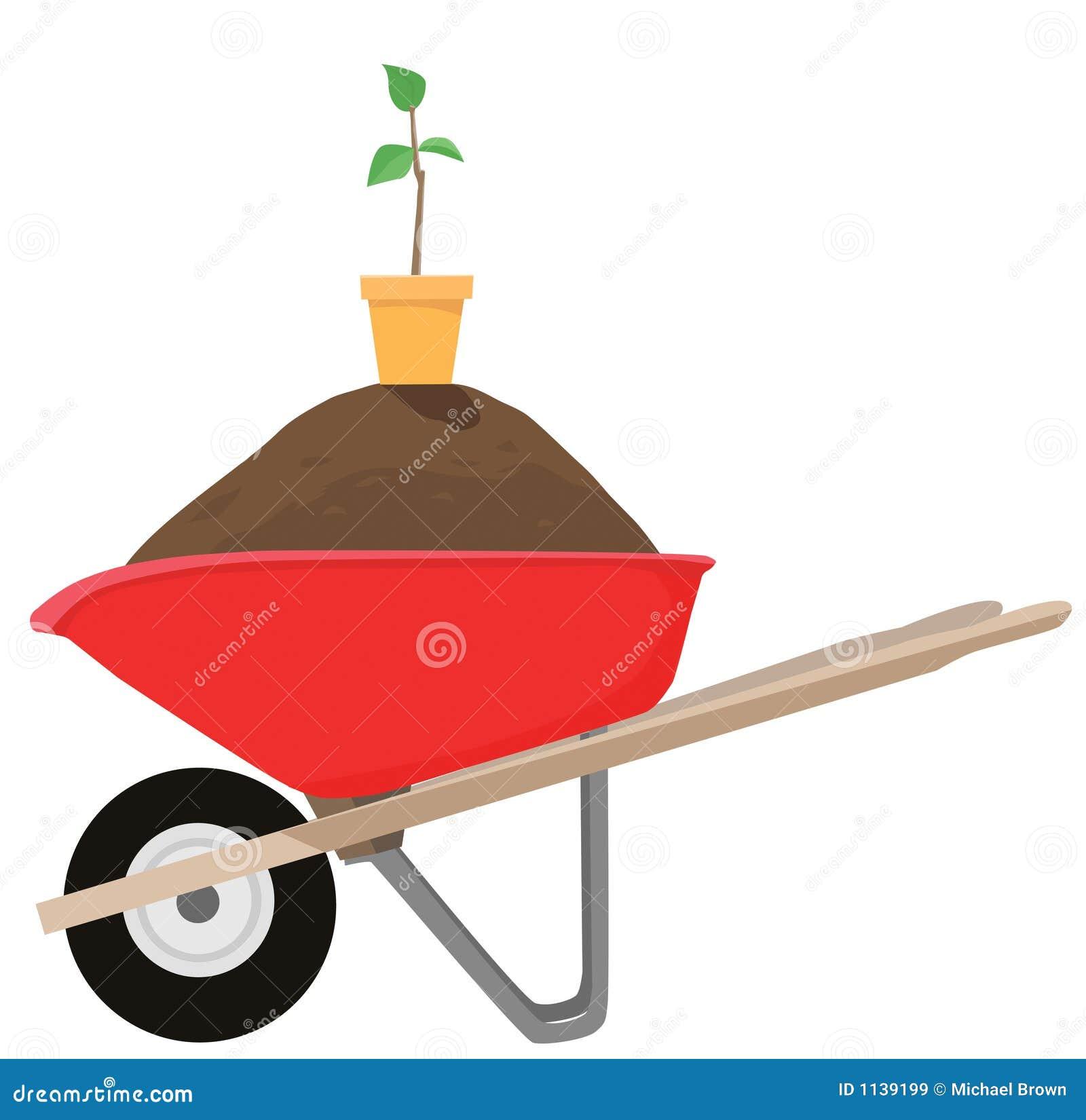 Brouette et plante