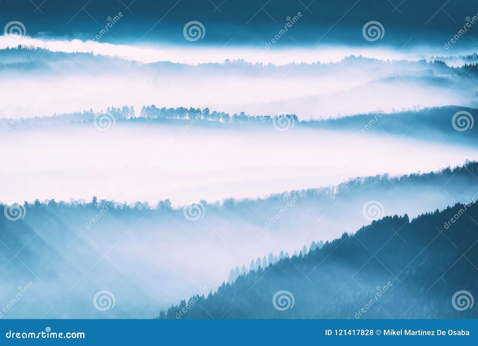 Brouillard de matin en montagnes