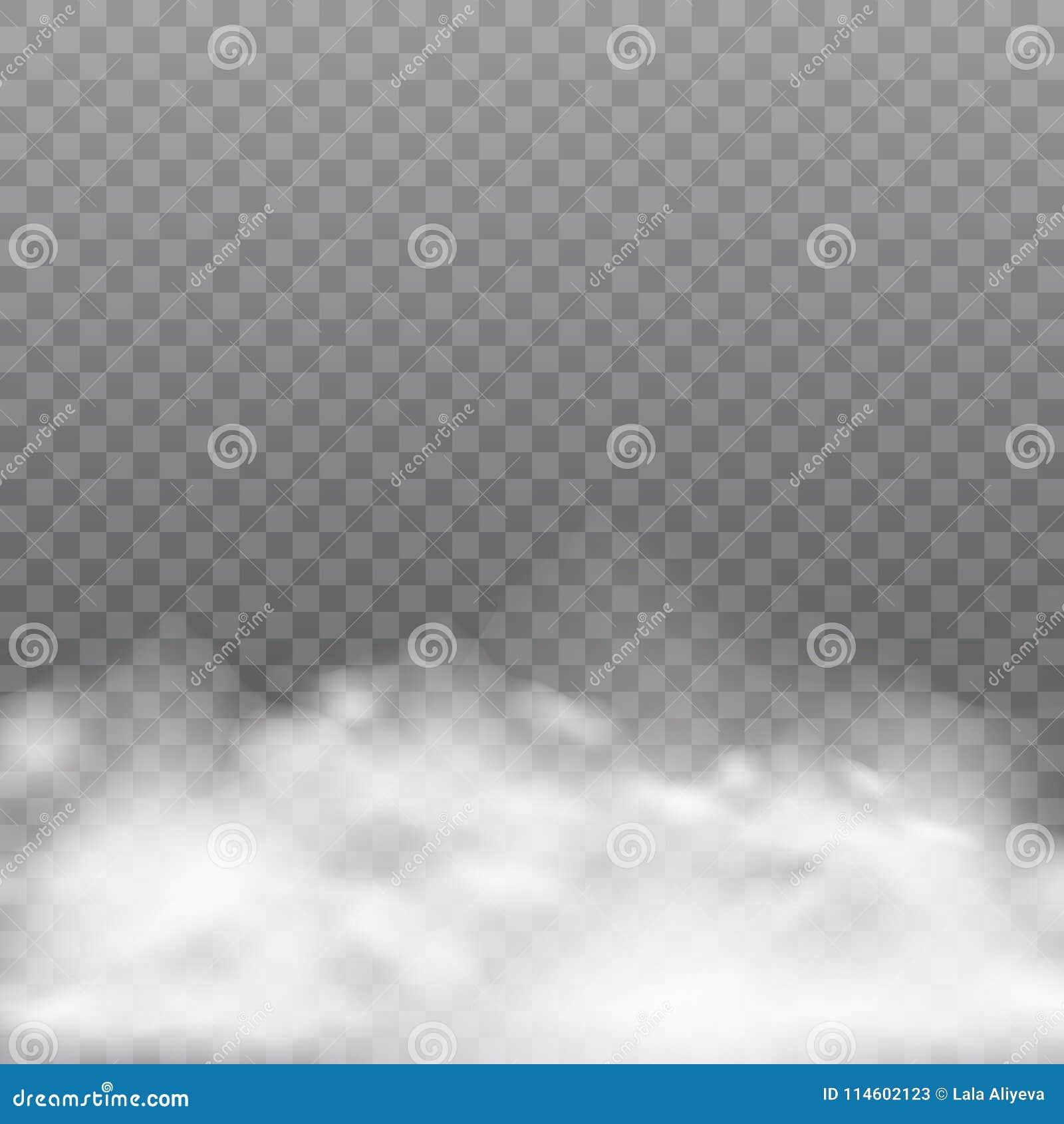 Brouillard ou fumée réaliste sur le fond transparent Vecteur