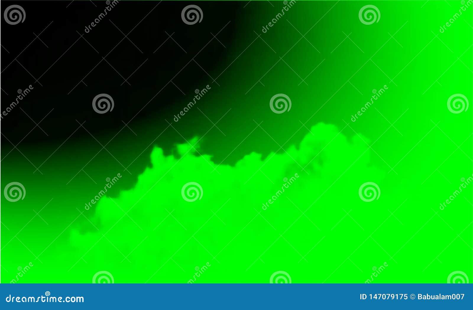Brouillard vert abstrait de brume de fum?e sur un fond noir D isolement, brumeux