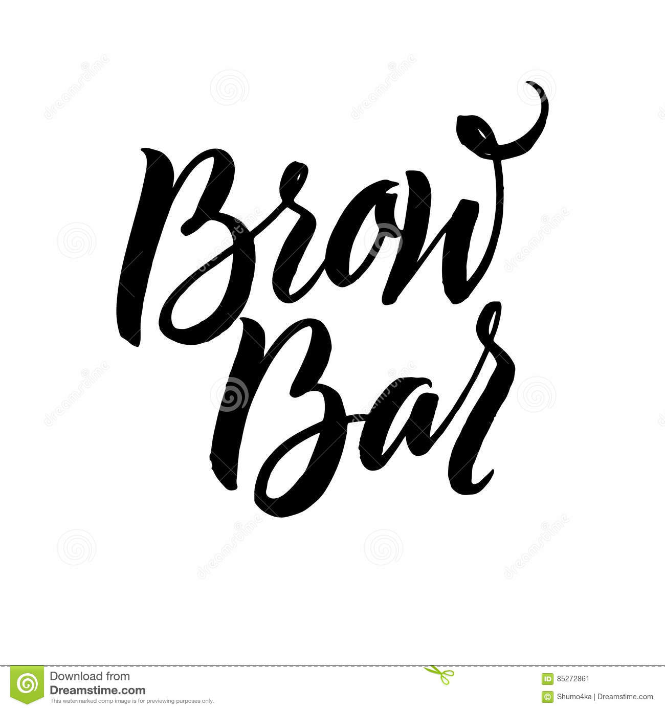Brow Bar Typography Square Poster Vector Lettering Calligraphy