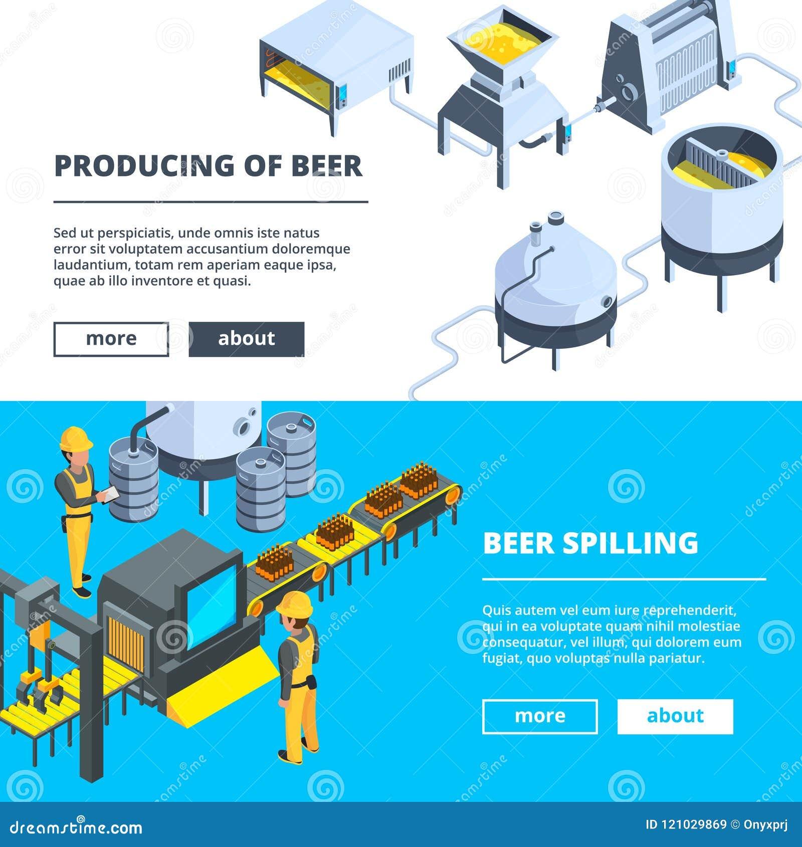 Browarów sztandary Wektorowe isometric ilustracje piwna produkcja