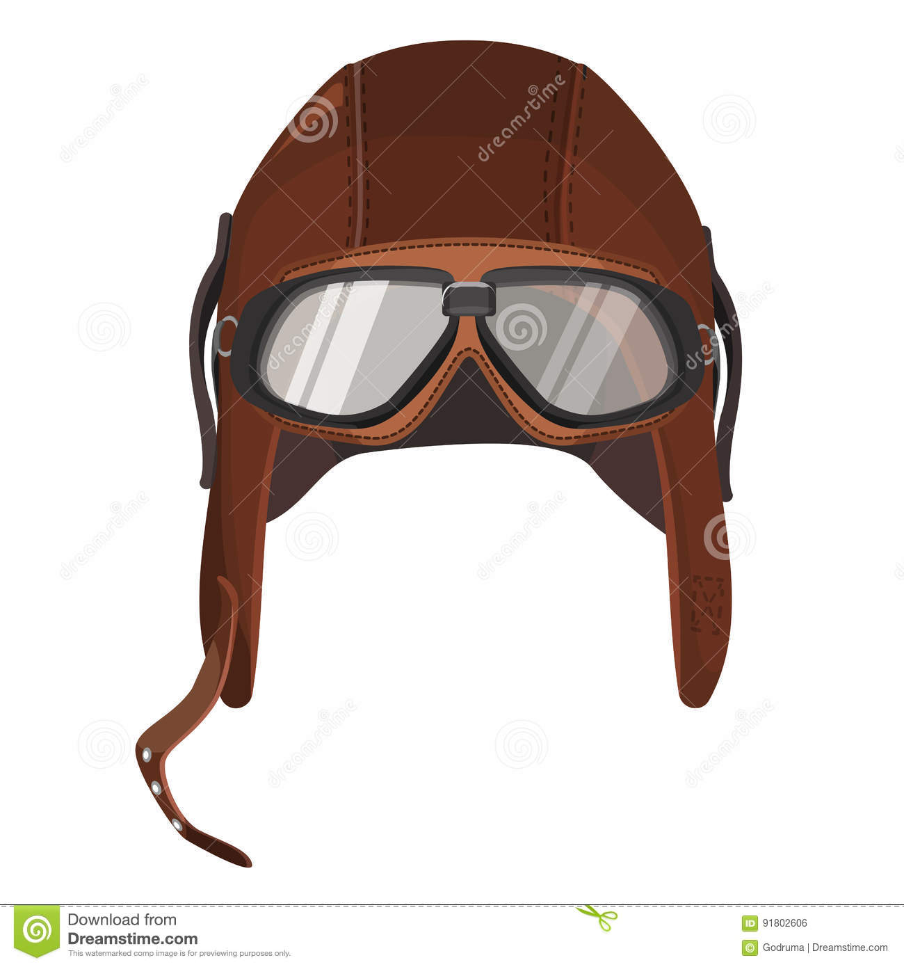 f58178f939a Brown aviator hat with goggles isolated on white. Vector illustration of leather  cap with glasses for pilots