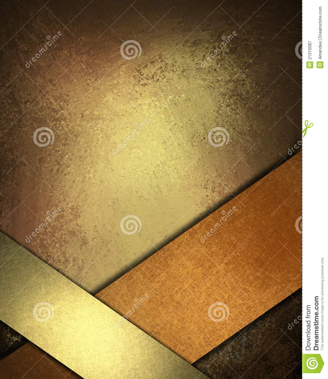 brown background with gold and copper ribbon royalty free