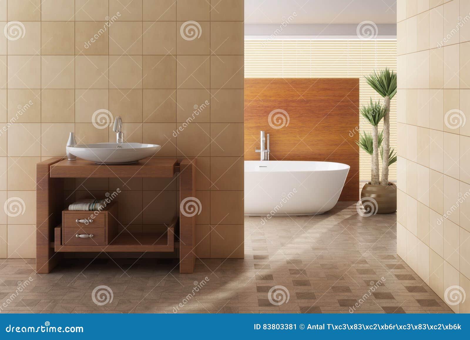 Brown-Badezimmer Einschließlich Bad Und Wanne Stock ...