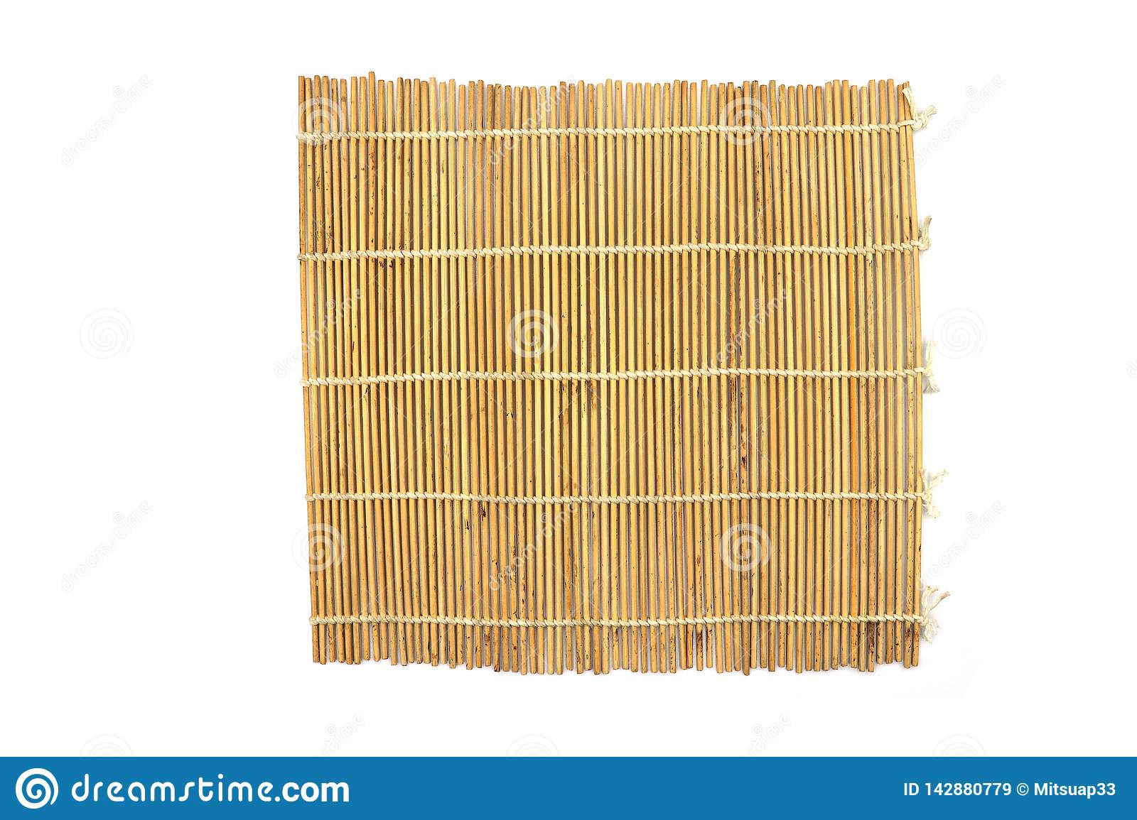 Brown bamboo Mat, bamboo Sushi Rolling isolated on white background