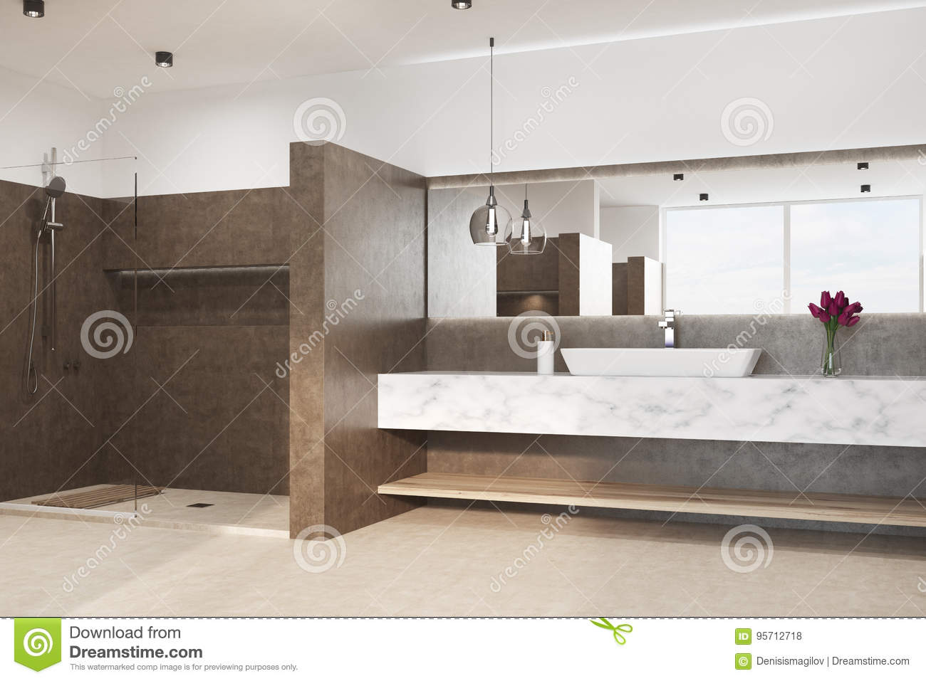 Brown Bathroom With A Marble Sink Side Stock Illustration Illustration Of Luxury Interior 95712718