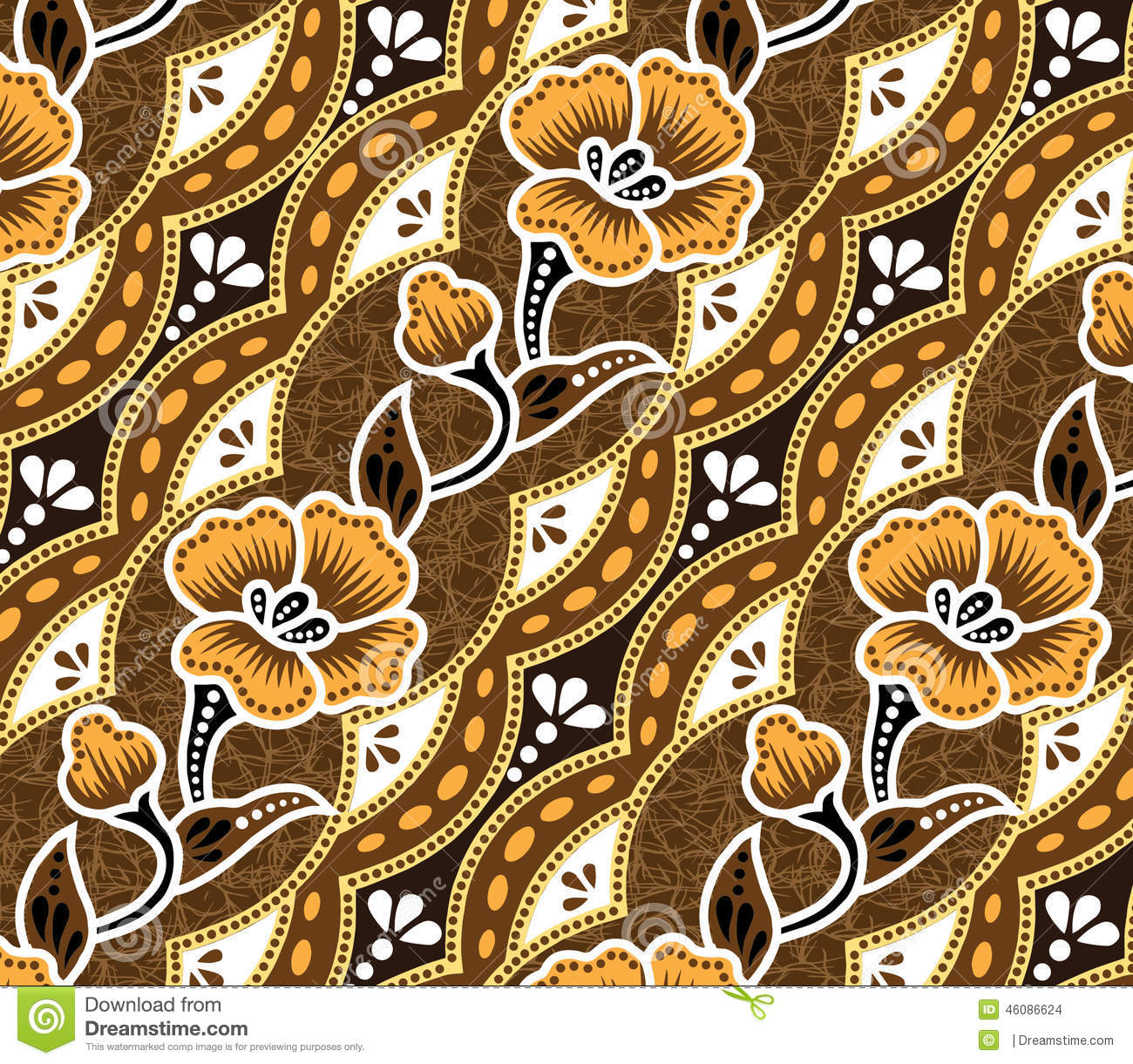 Brown Batik.beautiful Brown Background And Flowers. Stock