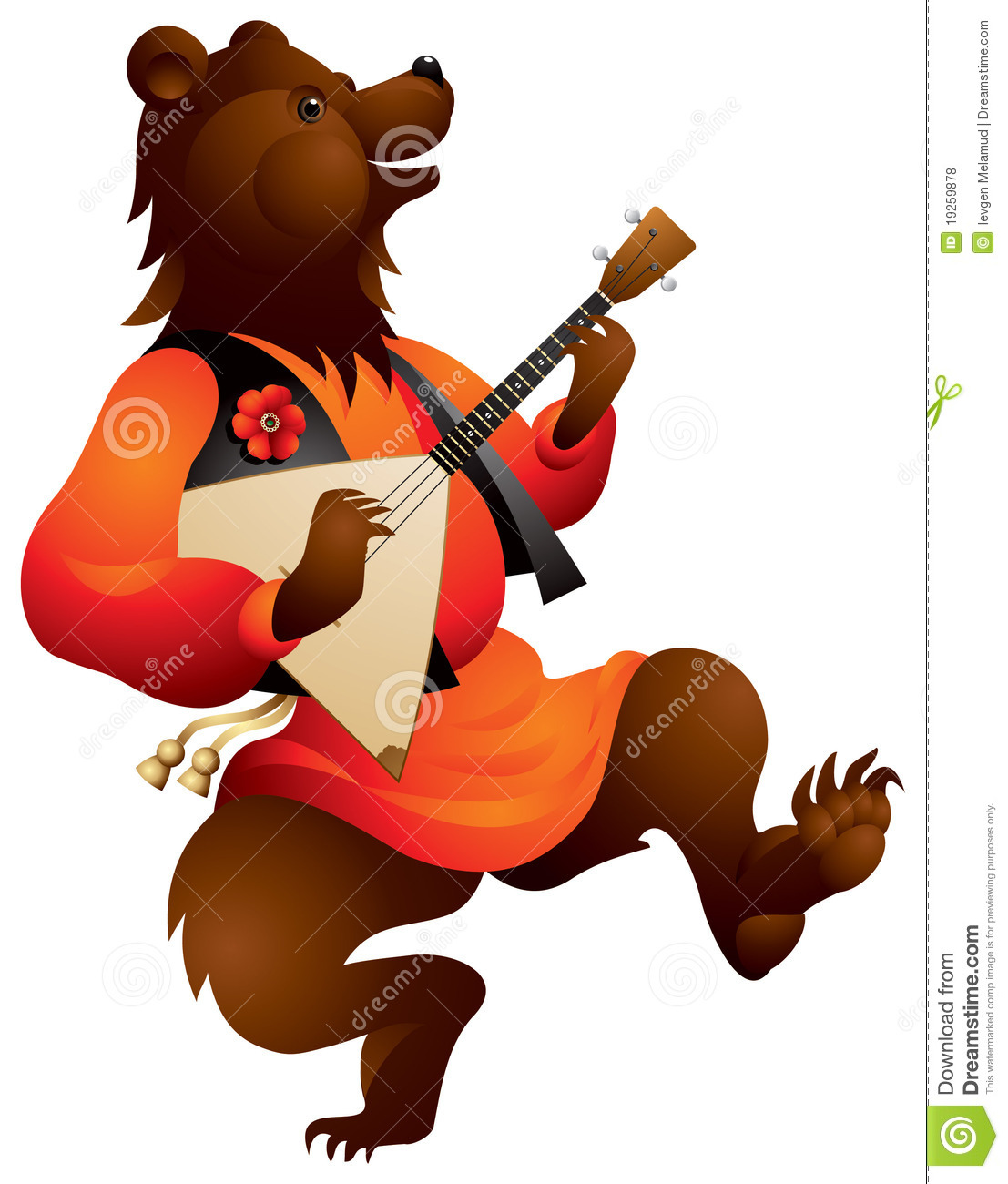 Brown bear playing music on the Russian traditional musical instrument ...