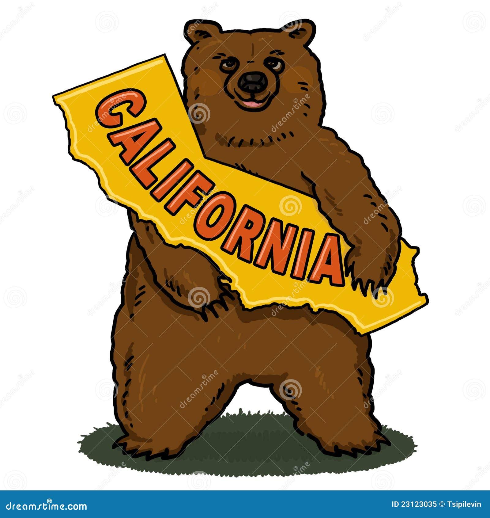 California Map Cartoon.Bear Holding California Map Cartoon Stock Illustration